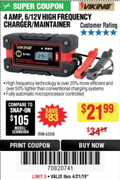 Harbor Freight Coupon 4AMP 6/12V HIGH FREQUENCY SMART BATTERY CHARGER Lot No. 63350 Expired: 4/21/19 - $21.99