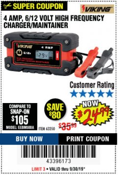 Harbor Freight Coupon 4AMP 6/12V HIGH FREQUENCY SMART BATTERY CHARGER Lot No. 63350 Expired: 9/30/19 - $24.99