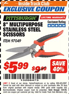 "Harbor Freight ITC Coupon 8"" MULTIPURPOSE STAINLESS STEEL SCISSORS Lot No. 97049 Expired: 7/31/18 - $5.99"