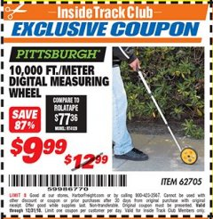 Harbor Freight ITC Coupon 10,000 FT. DIGITAL MEASURING WHEEL Lot No. 96136/62705 Valid Thru: 12/31/18 - $9.99