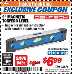 "Harbor Freight ITC Coupon 9"" MAGNETIC TORPEDO LEVEL Lot No. 96676 Expired: 8/30/19 - $6.99"