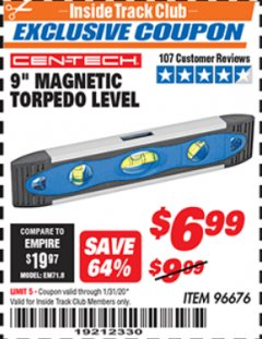 "Harbor Freight ITC Coupon 9"" MAGNETIC TORPEDO LEVEL Lot No. 96676 Expired: 1/31/20 - $6.99"