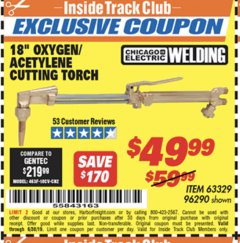 "Harbor Freight ITC Coupon 18"" OXYGEN ACETYLENE CUTTING TORCH  Lot No. 63329/96290 Expired: 6/30/19 - $49.99"