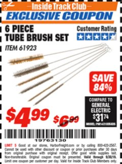 Harbor Freight ITC Coupon 6 PIECE TUBE BRUSH SET Lot No. 61923 Expired: 9/30/18 - $4.99