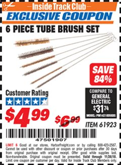 Harbor Freight ITC Coupon 6 PIECE TUBE BRUSH SET Lot No. 61923 Expired: 11/30/18 - $4.99