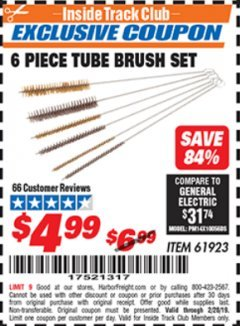 Harbor Freight ITC Coupon 6 PIECE TUBE BRUSH SET Lot No. 61923 Valid Thru: 2/28/19 - $4.99
