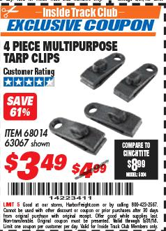 Harbor Freight ITC Coupon 4 PIECE MULTIPURPOSE TARP CLIPS Lot No. 63067/68014 Expired: 5/31/18 - $3.49