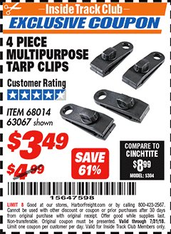 Harbor Freight ITC Coupon 4 PIECE MULTIPURPOSE TARP CLIPS Lot No. 63067/68014 Expired: 7/31/18 - $3.49