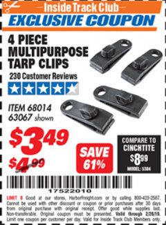 Harbor Freight ITC Coupon 4 PIECE MULTIPURPOSE TARP CLIPS Lot No. 63067/68014 Expired: 2/28/19 - $3.49