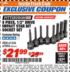 "Harbor Freight ITC Coupon 8 PIECE, 1/2"" DRIVE IMPACT STAR BIT SOCKET SET Lot No. 61336/67896 Expired: 9/30/18 - $21.99"