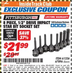"Harbor Freight ITC Coupon 8 PIECE, 1/2"" DRIVE IMPACT STAR BIT SOCKET SET Lot No. 61336/67896 Expired: 5/31/19 - $21.99"