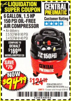 Harbor Freight Coupon 1.5 HP, 6 GALLON, 150 PSI PROFESSIONAL AIR COMPRESSOR Lot No. 62894/67696/62380/62511/68149 EXPIRES: 6/30/18 - $94.99