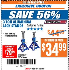Harbor Freight ITC Coupon 3 TON ALUMINUM JACK STANDS Lot No. 91760/61627 Expired: 7/24/18 - $34.99