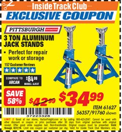 Harbor Freight ITC Coupon 3 TON ALUMINUM JACK STANDS Lot No. 91760/61627 Expired: 8/31/19 - $34.99