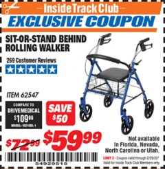 Harbor Freight ITC Coupon SIT-OR-STAND BEHIND ROLLING WALKER Lot No. 62547 Expired: 2/29/20 - $59.99