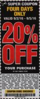 Harbor Freight Coupon 20 percent off coupon expires: 9/5/16