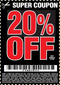 Harbor Freight Coupon 20 percent off coupon expires: 6/7/18
