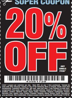 Harbor Freight Coupon 20 percent off coupon expires: 11/10/18