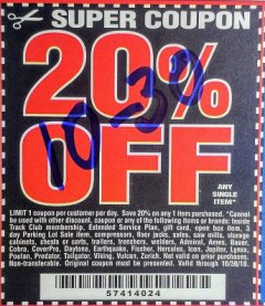 Harbor Freight Coupon 20 percent off coupon expires: 10/30/18