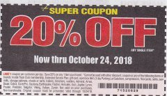 Harbor Freight Coupon 20 percent off coupon expires: 10/24/18