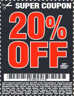 Harbor Freight Coupon 20 percent off coupon expires: 10/29/18