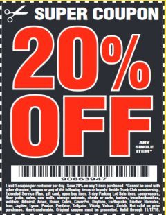 Harbor Freight Coupon 20 percent off coupon expires: 11/17/18