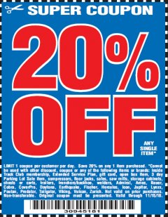 Harbor Freight Coupon 20 percent off coupon expires: 11/15/18
