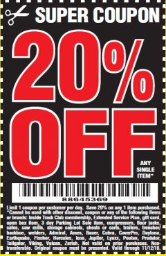 Harbor Freight Coupon 20 percent off coupon expires: 11/12/18