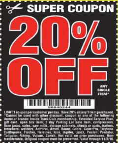 Harbor Freight Coupon 20 percent off coupon expires: 11/3/18