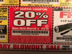 Harbor Freight Coupon 20 percent off coupon expires: 3/2/19