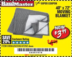 "Harbor Freight Coupon 40"" x 72"" MOVER'S BLANKET Lot No. 47262/69504/62336 Expired: 5/23/19 - $3.99"