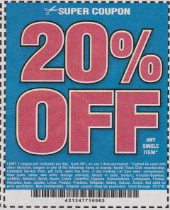 Harbor Freight Coupon 20 percent off coupon expires: 11/7/19