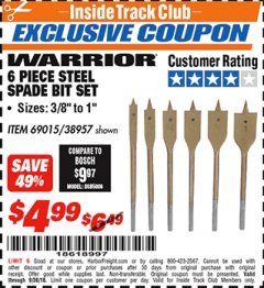 Harbor Freight ITC Coupon 6 PIECE STEEL SPADE BIT SET Lot No. 69015/38957 Expired: 9/30/18 - $4.99