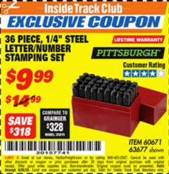 "Harbor Freight ITC Coupon 36 PIECE, 1/4"" STEEL LETTER/NUMBER STAMPING SET Lot No. 63677/60671 Expired: 9/30/18 - $9.99"