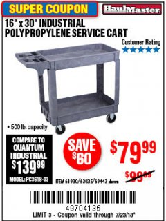 "Harbor Freight Coupon 16"" x 30"" TWO SHELF INDUSTRIAL POLYPROPYLENE SERVICE CART Lot No. 61930/92865/69443 Expired: 7/23/18 - $79.99"