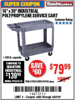 "Harbor Freight Coupon 16"" x 30"" TWO SHELF INDUSTRIAL POLYPROPYLENE SERVICE CART Lot No. 61930/92865/69443 Expired: 8/27/18 - $79.99"