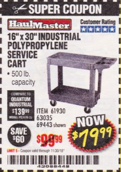 "Harbor Freight Coupon 16"" x 30"" TWO SHELF INDUSTRIAL POLYPROPYLENE SERVICE CART Lot No. 61930/92865/69443 Valid Thru: 11/30/18 - $79.99"