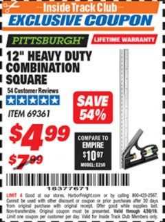 "Harbor Freight ITC Coupon 12"" HEAVY DUTY COMBINATION SQUARE Lot No. 69361 Expired: 4/30/19 - $4.99"
