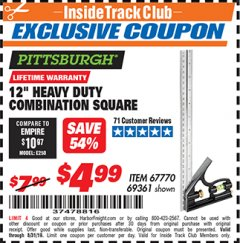 "Harbor Freight ITC Coupon 12"" HEAVY DUTY COMBINATION SQUARE Lot No. 69361 Expired: 8/31/19 - $4.99"