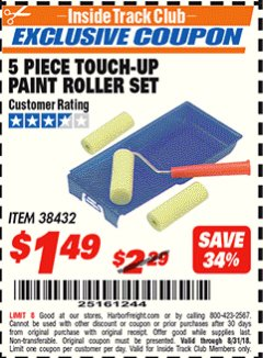 Harbor Freight ITC Coupon 5 PIECE TOUCH-UP PAINT ROLLER SET Lot No. 38432 Expired: 8/31/18 - $1.49