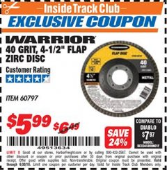 "Harbor Freight ITC Coupon 4-1/2"" FLAP ZIRC DISCS Lot No. 60797/60749 Dates Valid: 12/31/69 - 6/30/18 - $5.99"