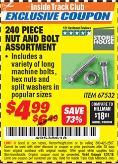 Harbor Freight ITC Coupon 240PIECE NUT AND BOLT ASSORTMENT Lot No. 67532 Expired: 1/31/19 - $4.99