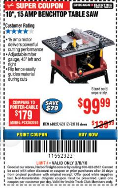 "Harbor Freight ITC Coupon 10"", 15 AMP BENCHTOP TABLE SAW Lot No. 68827/63117/63118 Expired: 3/8/18 - $99.99"