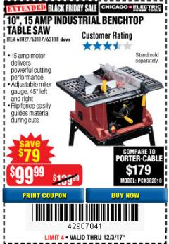 "Harbor Freight Coupon 10"", 15 AMP BENCHTOP TABLE SAW Lot No. 68827/63117/63118 Expired: 12/3/17 - $99.99"