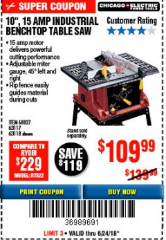 "Harbor Freight Coupon 10"", 15 AMP BENCHTOP TABLE SAW Lot No. 68827/63117/63118 EXPIRES: 6/24/18 - $109.99"