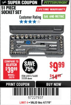 Harbor Freight Coupon 51 PIECE SAE AND METRIC SOCKET SET Lot No. 35338/63013 Expired: 4/7/19 - $9.99