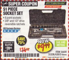 Harbor Freight Coupon 51 PIECE SAE AND METRIC SOCKET SET Lot No. 35338/63013 Expired: 10/31/19 - $9.99