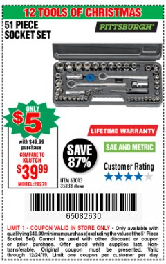 Harbor Freight Coupon 51 PIECE SAE AND METRIC SOCKET SET Lot No. 35338/63013 Expired: 12/24/19 - $5