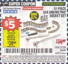 Harbor Freight Coupon 51 PIECE SAE AND METRIC SOCKET SET Lot No. 35338/63013 Expired: 3/29/20 - $5