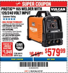Harbor Freight Coupon VULCAN PROTIG 165 WELDER WITH 120/240 VOLT INPUT Lot No. 63618 Expired: 5/27/18 - $579.99